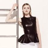 skórzana z baskinką bluzeczka Dior w kolorze brązowym - wiosna i lato 2013