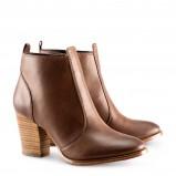 skórzane botki na niskim obcasie H&M w kolorze brązowym  - obuwie damskie 2012/2013