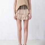 spódniczka Pull and Bear z falbankami w kolorze beżowym - lato 2013