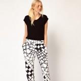spodnie Asos w kolorze biało - czarnym - stylizacja na wieczór