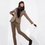spodnie Solar w kratkę w kolorze brązowym - moda damska