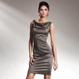 srebrna sukienka wieczorowa Nife satynowa