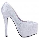 srebrne buty ślubne Fleq.pl z kryształkami na platformie