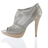 srebrne pantofle Prima Moda na wysokim obcasie - kolekcja letnia