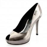 stabilne czółenka Prima Moda w kolorze srebrnym - buty na karnawał