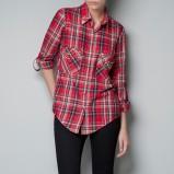 stylowa koszula ZARA w kratkę w kolorze czerwonym
