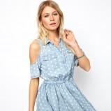 sukienka Asos w groszki w kolorze błękitnym - letnie ubrania