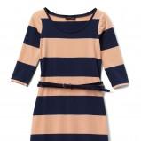 Sukienka Reserved w kolorze ecru z niebieskimi pasami i paskiem na jesień - zimę 2012/2013