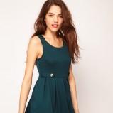 sukienka Vero Moda rozkloszowana w kolorze ciemnozielonym - jesień-zima 2012/2013