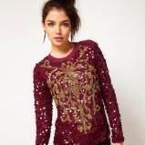 sweter Asos z cekinami w kolorze bordowym - jesień-zima 2012/2013