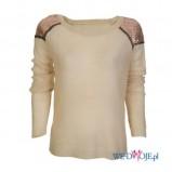 sweterek Camaieu z cekinkami w kolorze beżowym   - sweterki na jesień i zimę