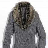 szary sweter Orsay z kołnierzem rozpinany - zima 2011/2012