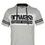 szary t-shirt Drywash z kapturem - trendy wiosenne