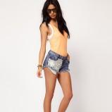 szorty Asos z koronką jeansowe