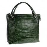 torebka SCALLINI z wężowej skóry w kolorze zielonym - damskie torebki
