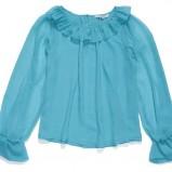 turkusowa bluzka C&A z falbanami - lato