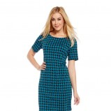 turkusowa sukienka C&A w pepitkę trendy na jesień