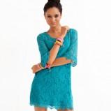 turkusowa sukienka H&M mini - lato 2012