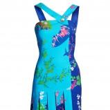 turkusowa sukienka H&M w kwiaty - jesień/zima 2011/2012