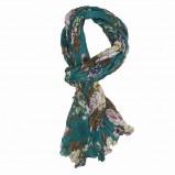 turkusowy szalik Jackpot w kwiaty - kolekcja jesienna