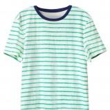 turkusowy t-shirt H&M w paski - lato 2012