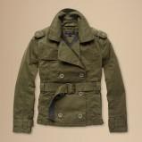Urocza kurtka Tommy Hilfiger khaki na guziki z paskiem w tali na jesień i zimę 2012- 2013