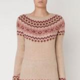 Uroczy jasnoróżowy sweter Oysho we wzorki kolekcja jesienno-zimowa 2012/2013