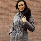 Uroczy szary płaszcz Heppin z paskiem kolekcja jesienno-zimowa
