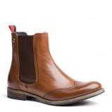 Urzekające buty Tommy Hilfiger brązowe skórzane błyszczące  na jesień i zimę 2012/2013