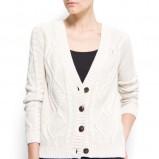 wełniany na guziki sweter Mango w kolorze białym  - modne sweterki 2012/13