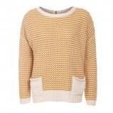Wygodny musztardowy sweter New Look z kieszeniami  moda jesień/zima