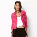 zamszowa ramoneska Bershka w kolorze różowym - moda na wiosnę