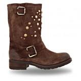 zamszowe botki Wojas z dżetami w kolorze brązowym - obuwie na wiosnę 2013