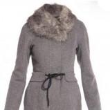 zimowy płaszcz Monnari z futerkiem w kolorze szarym -kolekcja jesienno - zimowa 2012/2013