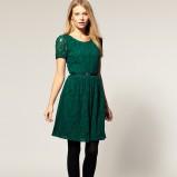 zjawiskowa koronkowa sukienka Asos w kolorze ciemnozielonym - jesień-zima 2012/2013
