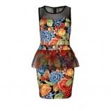 zjawiskowa kwiatowa sukienka River Island z baskinką  - moda damska 2012/13