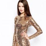 złota sukienka Asos z cekinami
