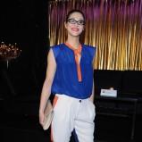 zwiewna bluzeczka w kolorze kobaltowo-pomarańczowym - Anna Szymańczyk