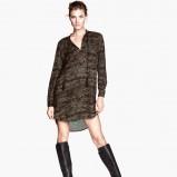 zwiewna sukienka H&M w kolorze khaki - moda 2013/14