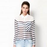 zwiewna z długim rękawem koszula Bershka w paski - moda na wiosnę 2013