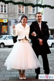 Suknia ślubna lata 50-te. krótka, haftowana, Justin alexander, nietypowa