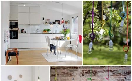 Kolorowy kabel i żarówka - minimalistyczna lampa