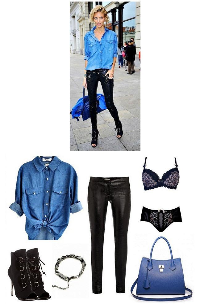 Anja Rubik w jeansowe koszuli