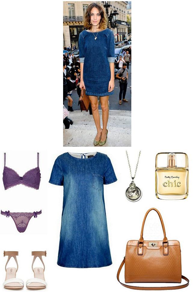 Alexa Chung w jeansowej sukience