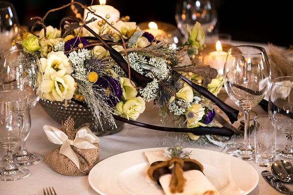 Dekoracja stołu weselnego - jesień