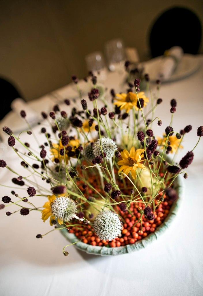 Stół weselny - dekoracja jesienna