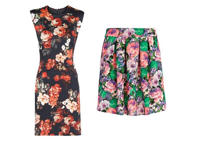 sukienka w kwiaty, spódnica w kwiaty