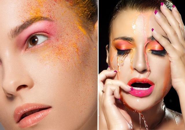 makijaż w kolorze pomarańczy krok po kroku