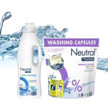 Neutral – Hipoalergiczne kapsułki do prania tkanin kolorowych dla alergików i Neutral płyn do płukania tkanin dla alergików