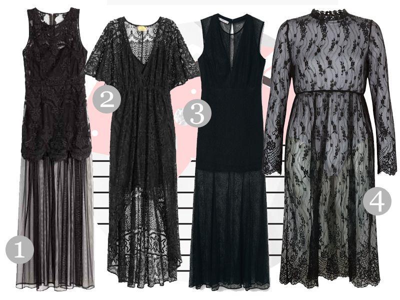 czarna sukienka z koronki
